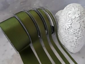 Berisfords MOSS green (9892) Grosgrain Ribbon weddings bridal - 6mm to 40mm