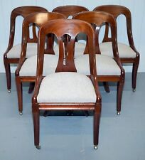 ANTIQUE REGENCY/VICTORIAN SPOON BACK DINING CHAIRS SET OF SIX