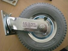 "Swivel Plate Caster 8""x3"" Gray Pneumatic Wheel (4""x4-1/2"" Plate) Swivel Caster"