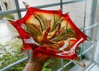Red MURANO Glass Console Bowl Italian Art  Italy Mid Century Tri Color