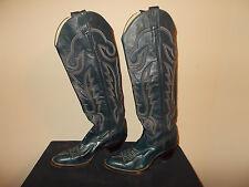 VTG-1981 Larry Mahan's Dark Blue Leather Western Cowboy Boots Women's size 6 260