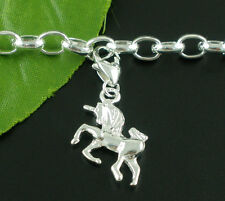 10 Silver Plated Clip On Unicorn Charms. Fits Link Chain Bracelet 37x16mm