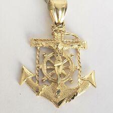 14k gold  jesus crucifix Anchor pendant charm necklace mariner 1.60 inch