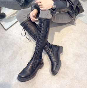 Lady Women Punk Knee High Boots Shoe Block Heel Round Toe Lace Up Sexy Party US9