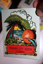 Vintage Panama City Beach Palm tree & Marlin Transfer Auto suitcase decal 1960's