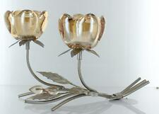 Soft Glow Golden Double Glass Rose Champagne Metal Tealight Holder Table Home