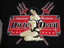 Black Dirty Devil American Kustoms Pinup Girl Hot Rod Punk Rock t shirt M NICE