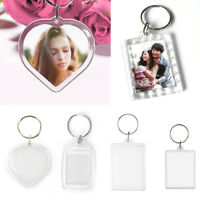 100X  Insert Clear Blank Acrylic Plastic Photo Keyrings Personalise UK