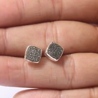 Handmade 925 Solid Sterling Silver Indian Jewelry Druzy Gemstone Stud Earring
