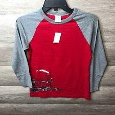 Hanna Andersson Kids 130 Red/Gray Long Sleeve Raglan Crew Neck T-Shirt NEW