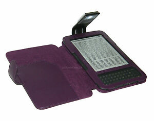 PURPLE COVER CASE WITH READING LIGHT FOR AMAZON KINDLE KEYBOARD 3 AND 3G