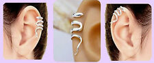 Adjustable SNAKE EAR CUFF 925 Sterling Silver Plated Upper Helix Clip on
