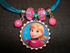Blue Ribbon & Cord Bottle Cap Bling Charm Necklace Beads Frozen Ice Sister Anna