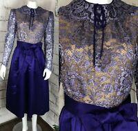 Vintage 60s 70s Helga Purple Satin M Metallic Floral Lace Formal Midi Dress