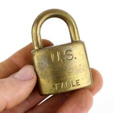 Vintage U.S. Eagle Lock Co. Military Brass Padlock Post Office No Key Antique