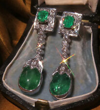 PLATINUM EMERALD DIAMOND COLOMBIAN CERTIFIED VINTAGE EARRINGS FINE 16.58 CARATS!