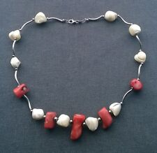 """STERLING SILVER SALMON CORAL & MOTHER OF PEARL CHOKER 15"""""""