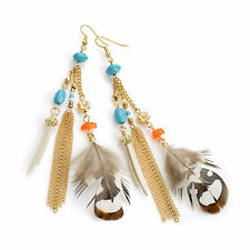 Gold Colour Turquoise Effect Feather Drop Earrings Ladies Fashion Jewellery