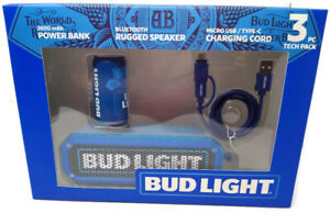 Bud Light Bluetooth Rugged Speaker, Power Bank & Micro USB/Type-C Cable