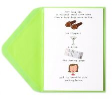 """Slippers, Drink & Wife"" Father's Day Card - Papyrus Humor Handmade With Gems"