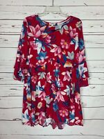 Umgee Boutique Women's S Small Red Floral Cute Spring Summer Tunic Top Blouse