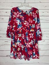 Umgee USA Boutique Women's S Small Red Floral 3/4 Sleeves Cute Tunic Top Blouse