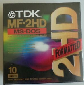 TDK MF-2HD MS-DOS Pack of x 10 Floppy Disks-FORMATTED-for IBM & Compatibles
