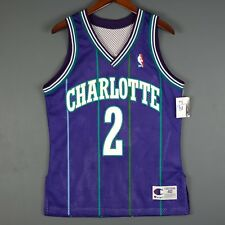 100% Authentic Larry Johnson Purple Hornets Champion NBA Jersey Size 40 M S