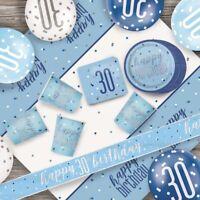 Blue Glitz 30th Birthday Party Supplies Decorations (Confetti Strings Napkins)