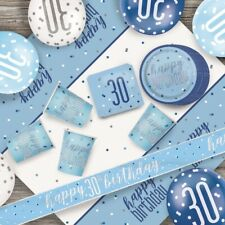 Blue Glitz 30th Birthday Party Supplies Decorations (Confetti Strings Napkins)