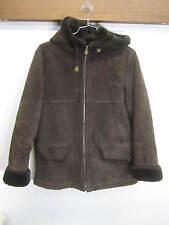 vtg Sag Harbour Leather Coat Jacket dark brown suede faux fur lined sz L