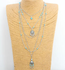 Vintage Boho Turquoise Silver Chain Multilayer Necklace Pendant Fahion Jewelry