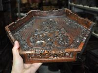 Chinese Huanghuali wood carving auspicious phoenix Statue Plates Tray Pallets