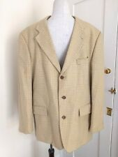 Hugo Boss Check Country 54 EUR  44 UK Wool Jacket Blazer Gold Mustard Dogtooth