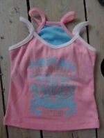 T-shirt débardeur sans manches rose imprimé turquoise à paillettes Taille 4 ans