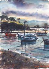 "ORIGINAL Watercolor  Painting Signed Boats In Cadaqués  10"" x 14""  NOT A PRINT"