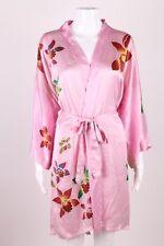 QUALIN SILK COLLECTION Kimono 100% Silk Pink Robe Flower Floral Short Hawaiian