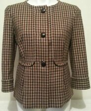 TALBOTS Brown 100% Wool Hounds-tooth Plaid Peplum Blazer Jacket Coat 4P NWOT
