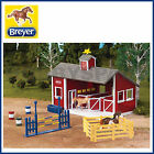 NEW BREYER RED STABLE SET with TWO HORSES BARN & ACCESSORIES 1:32 STABLEMATES