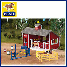 Breyer Horses Stablemates Red Stable Set With Two Horses 1 32 Scale 59197