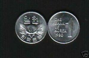 KOREA SOUTH 1 WON KM-4 A 1980 ROSE FLOWER UNC KOREAN CURRENCY MONEY COIN