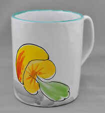 Italy Yellow Mushroom Coffee Mug Cup Green Rim Majolica
