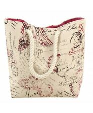 BEACH BAG - QUALITY NEW CANVAS SHOPPING BAG TOTE WITH ROPE HANDLES MULTI DESIGN