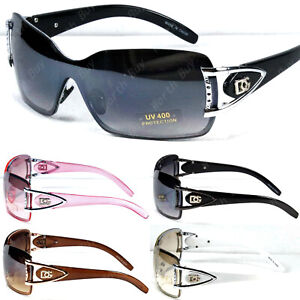 New Women Shield Wrap Around Sunglasses Fashion Designer Shades Rimless One Lens