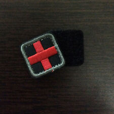 "1"" Square Mini Tactical Morale Medic Red Cross Patch Combat Badge EMS EMT Black"