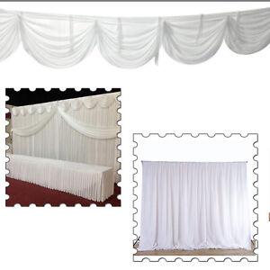 White Backdrop Curtain with Detachable Swag Glaçon Silk for Event Decor