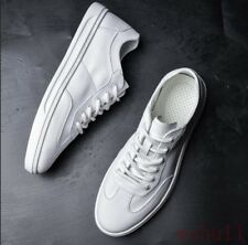 Men's Flat White Board Shoes Round Toe Casual Driving Loafers Sports Lace Up J68