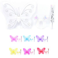 Girls Fairy Costume Butterfly Party Wings Wand Princess Headband Xmas Gifts Q LJ