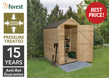 Forest 6x4 Pressure Treated Timber Apex Windowless Garden Tool Shed Storage NEW