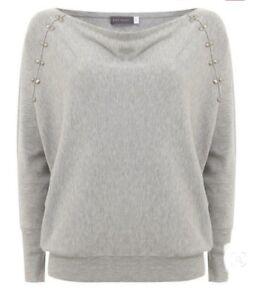 Mint Velvet Grey Batwing Sleeves Jumper Top with Stud Details Size Uk 8